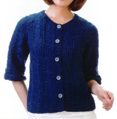 棒針編み無料編み図カーディガンハマナカ毛糸h145-012-2