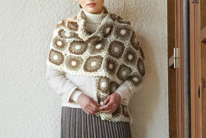 かぎ針編み無料編み図モチーフ編みの大判ショール楽天毛糸ピエロ
