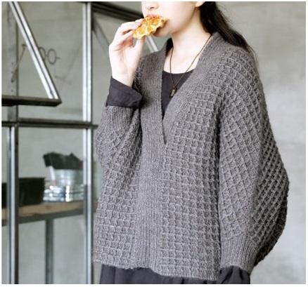 無料編み図かぎ針編みワッフルドルマンプルオーバー