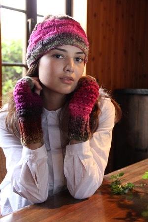 棒針編みニットキットくれよん野呂英作市松模様の帽子セット