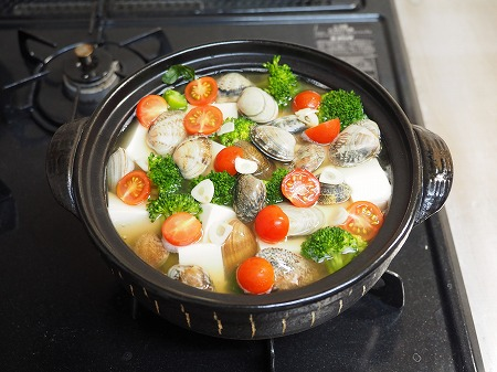 あさりと豆腐のオリーブ鍋046