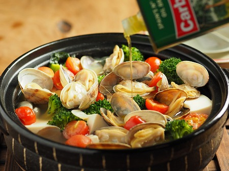 あさりと豆腐のオリーブ鍋006