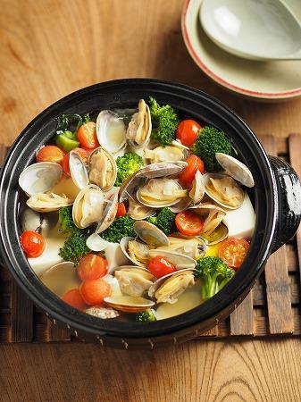 あさりと豆腐のオリーブ鍋022