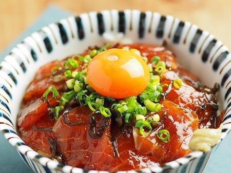サーモン刺身の塩昆布漬け丼015