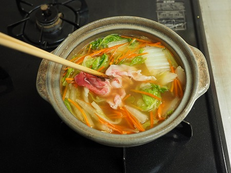 市販の水餃子とラーメンスープ077