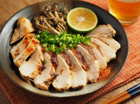 鶏むね肉の塩昆布カボス焼き012