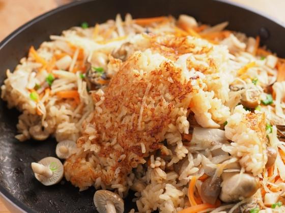 牡蠣のフライパン炊き込みご飯043