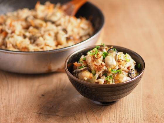 牡蠣のフライパン炊き込みご飯053