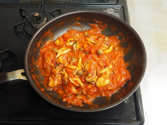 牡蠣のガーリックトマト煮049
