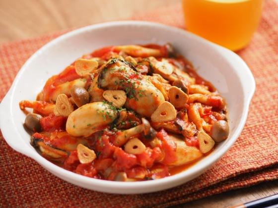 牡蠣のガーリックトマト煮080
