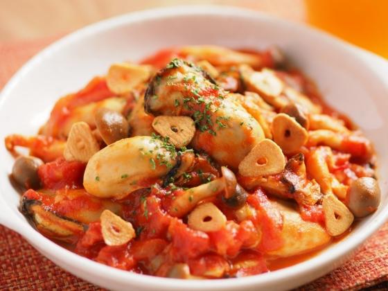 牡蠣のガーリックトマト煮085
