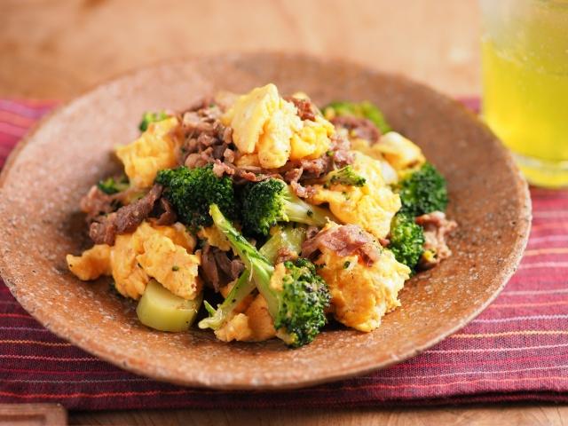 牛こま肉とブロッコリーの卵炒め036