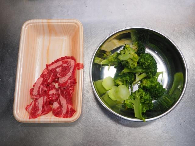 牛こま肉とブロッコリーの卵炒め001