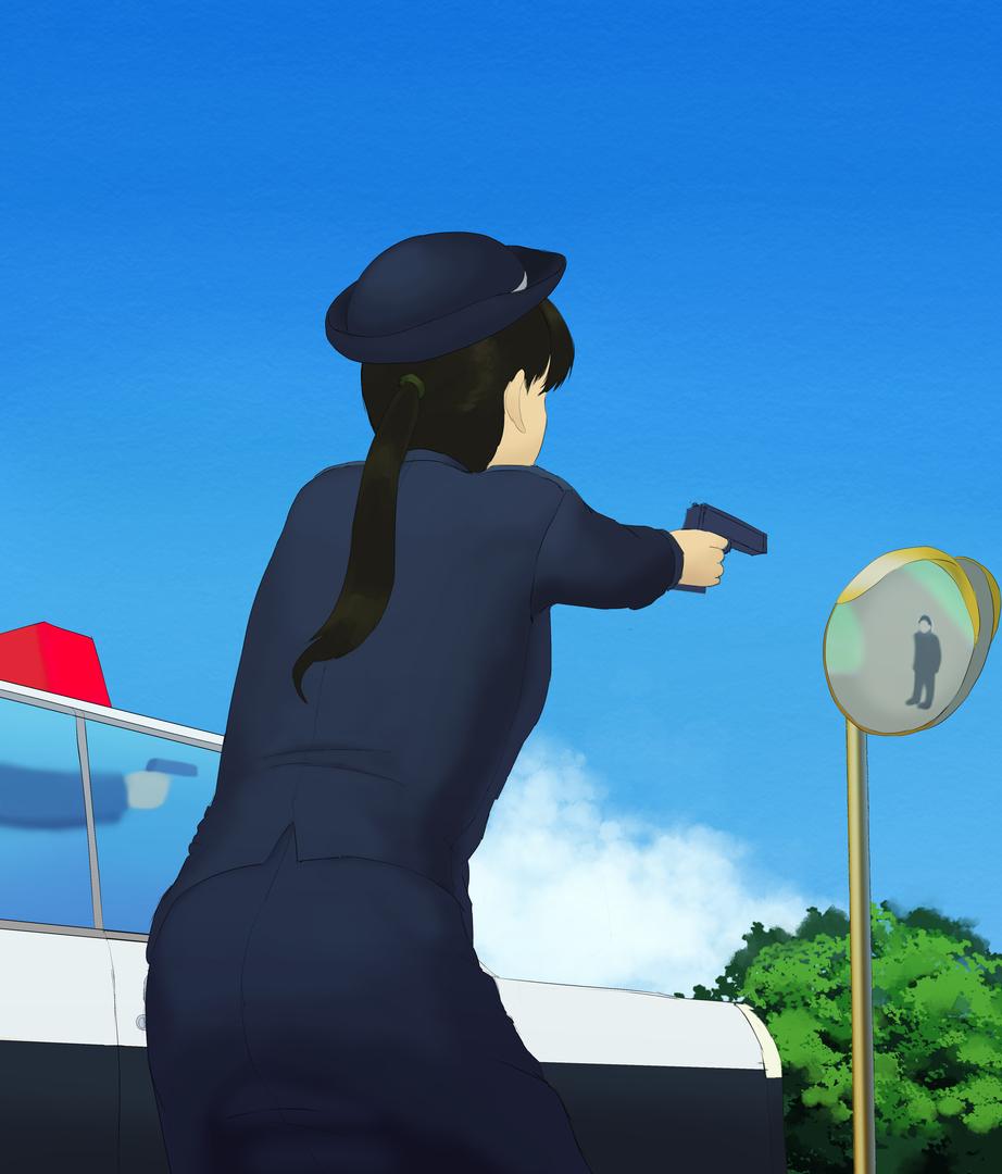 婦警さんの射撃姿勢の姿を描く 婦警さんを塗る