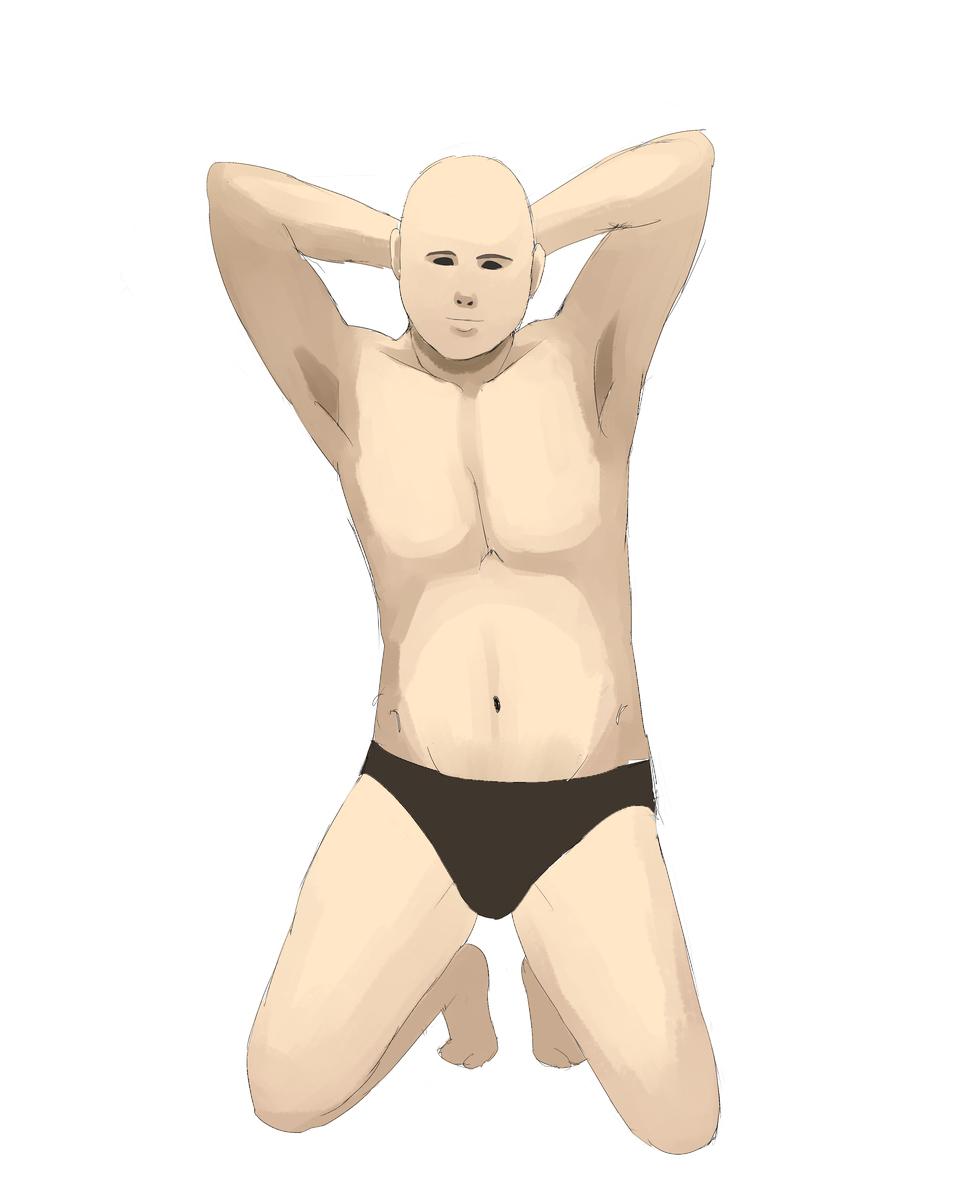 見ずに男性の体を描く