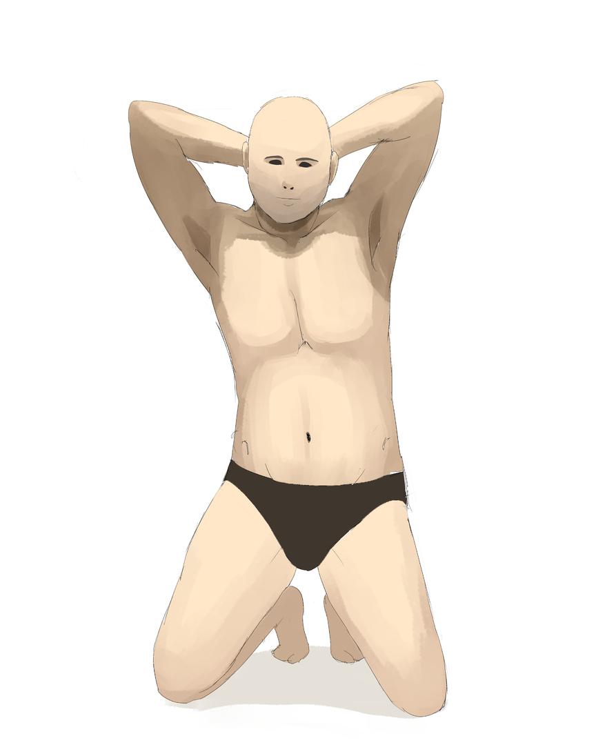 資料見て男性の体を描く