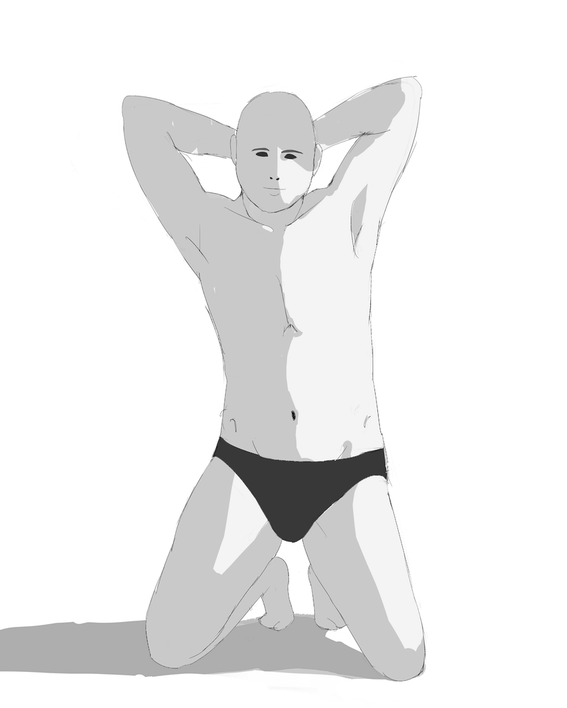 資料見て男性の体を描く その3