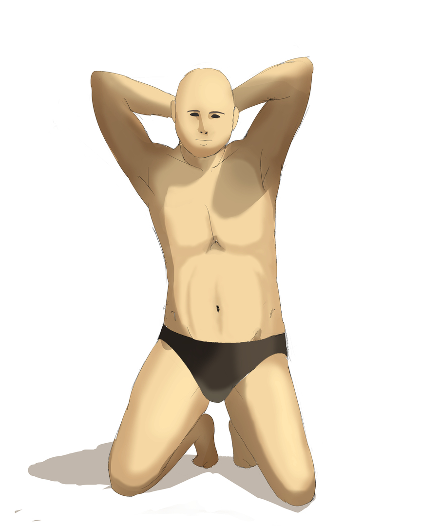 資料見て男性の体を描く その1