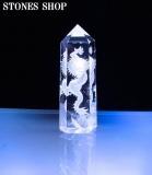 水晶ポイント龍彫り物(台付)No1