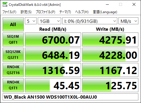 【CrystalDiskMark 8.0.0a】WD_Black AN1500 WDS100T1X0L-00AUJ0