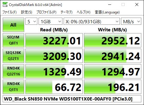 【CrystalDiskMark 8.0.0a】WD_Black SN850 NVMe WDS100T1X0E-00AFY0[via PCIe3.0]