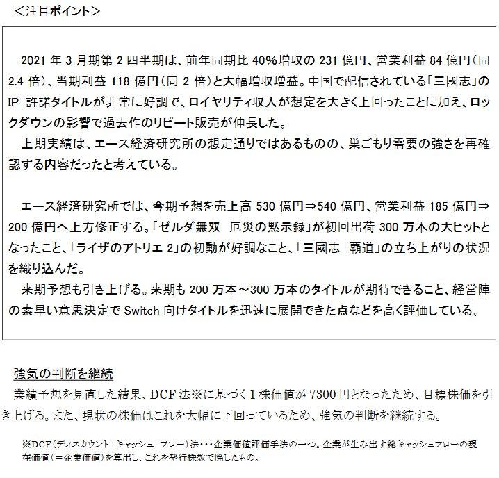 エース証券・安田氏「経営陣の素早い意思決定でSwitch向けタイトルを迅速に展開できた点等を高く評価」