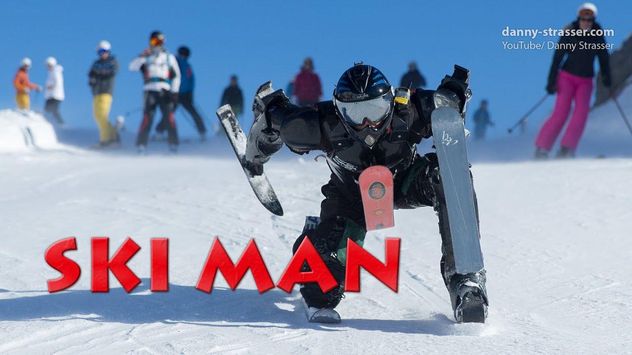 全身スキースーツでゲレンデを滑るスキーマンが楽しそう!!