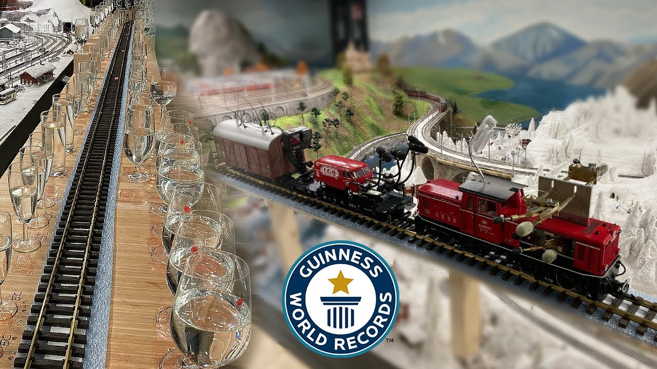 【世界記録】鉄道のジオラマに膨大な量のグラスを並べてクラッシックを演奏!!