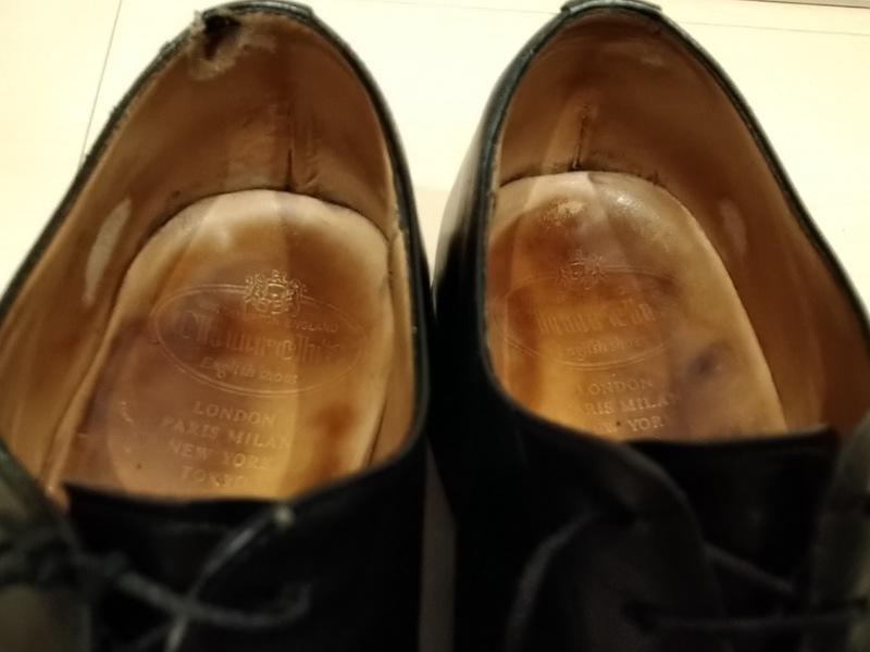 カウンターライニング(内側踵部分)の破れをリペア|革靴の腰裏 修理