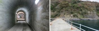 左;運搬トンネル予備機待機所付近 右;運搬トンネル出口桟橋