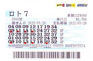 ロト7 第360回赤