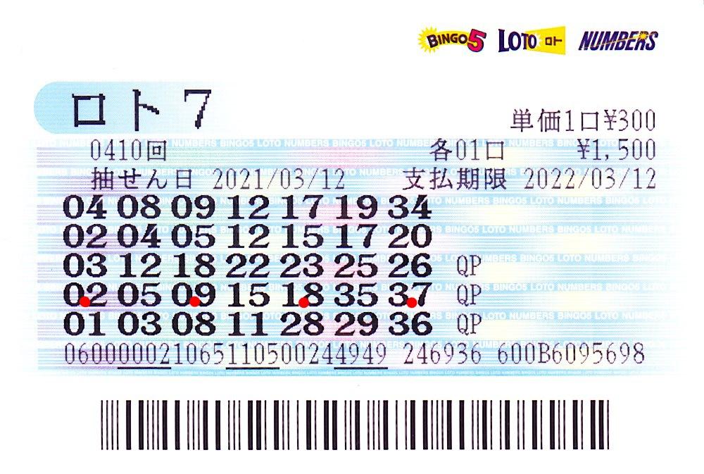 ロト7 第410回赤