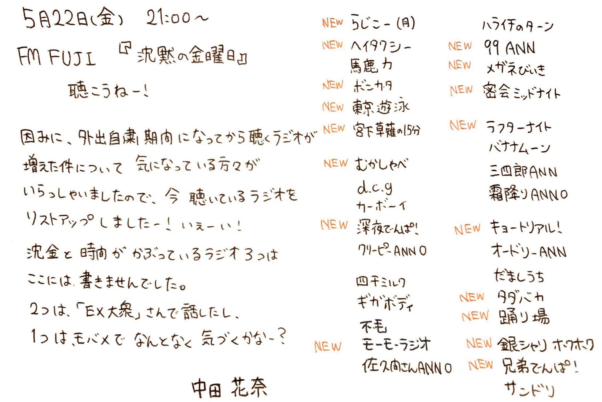 中田花奈「聴くラジオが増えた件について、今聴いているラジオをリストアップしましたー!」