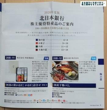 北日本銀行 優待カタログ01 202003