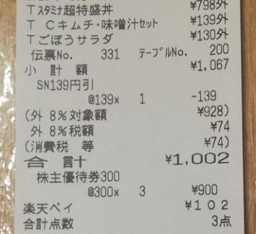 吉野家 優待券 スタミナ超特盛丼04 2005 201908