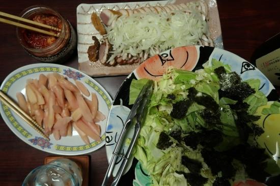 枝豆豆腐、やみつきキャベツ、合鴨燻製