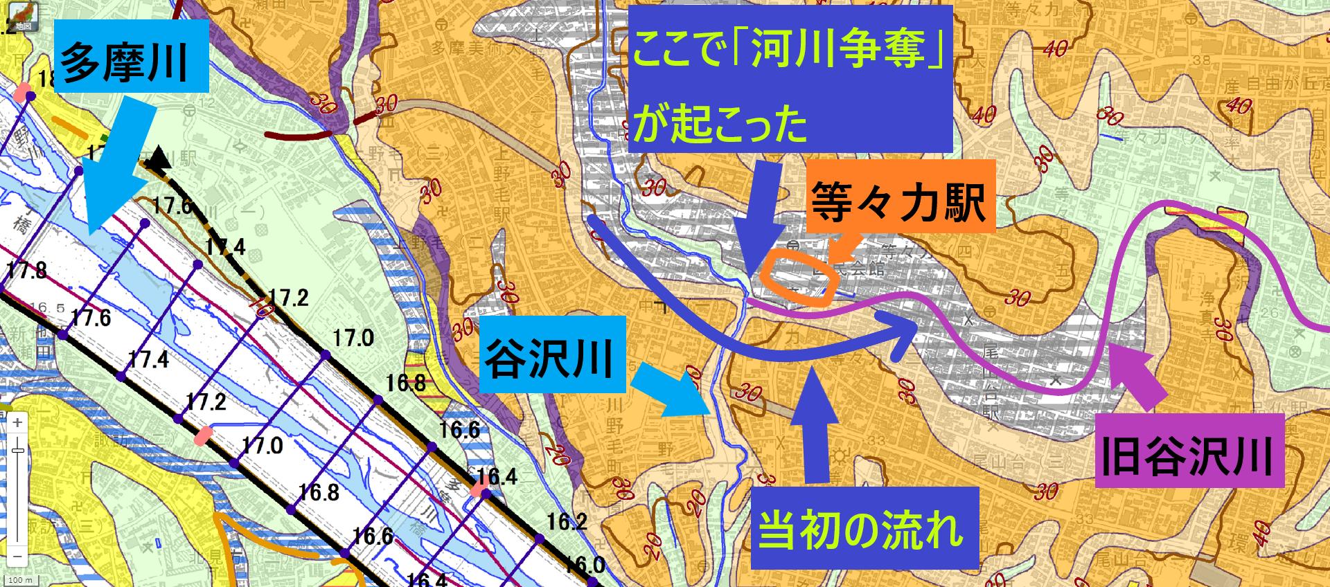 河川争奪 谷沢川 当初の流れ