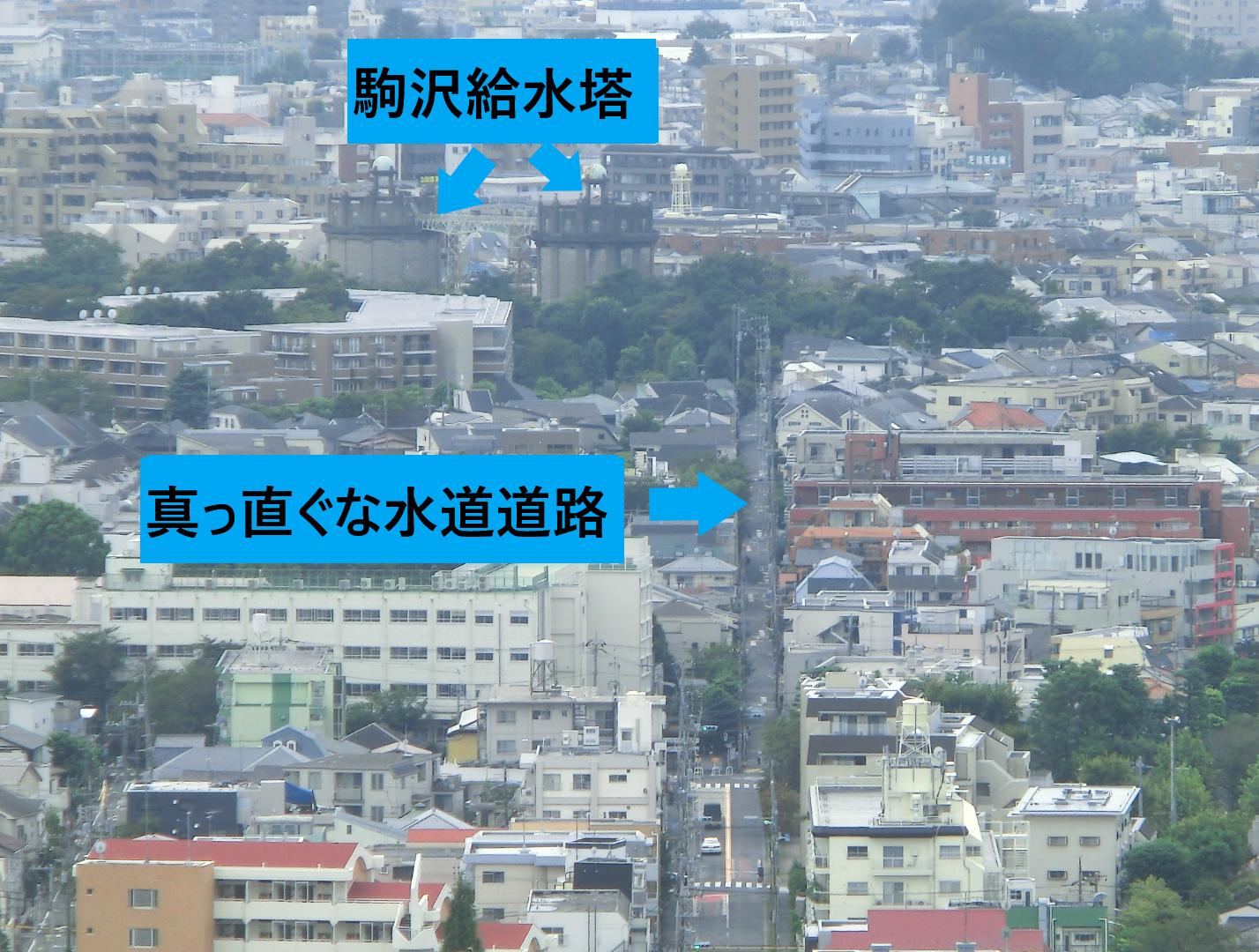 キャロットタワーから見た駒沢給水塔 桜新町・深沢散策1