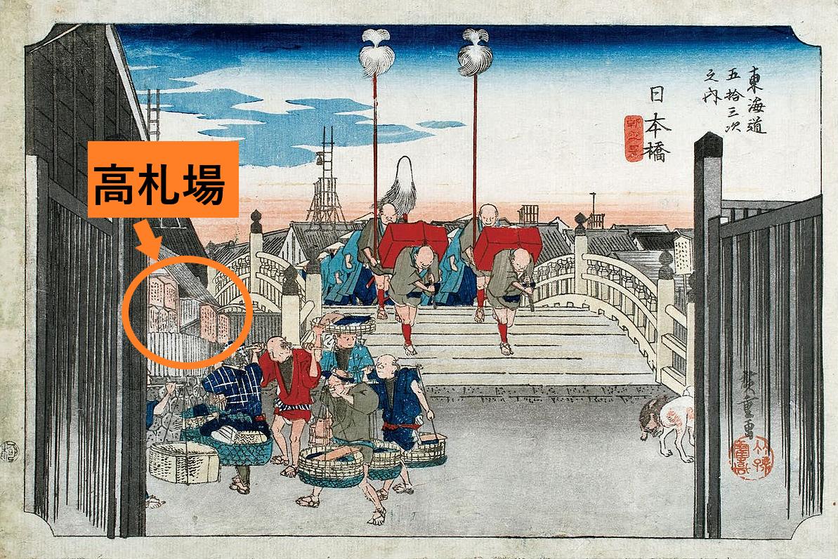 歌川広重 高札場 橋梁としての日本橋3