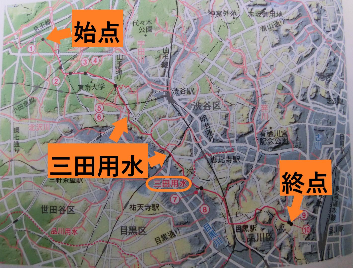 三田用全図 三田用水跡散策1
