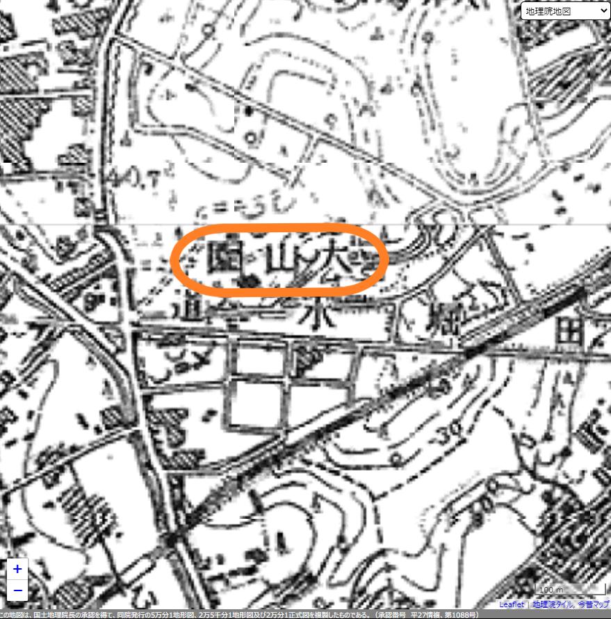 大山園 昭和初期の地図 三田用水散策2