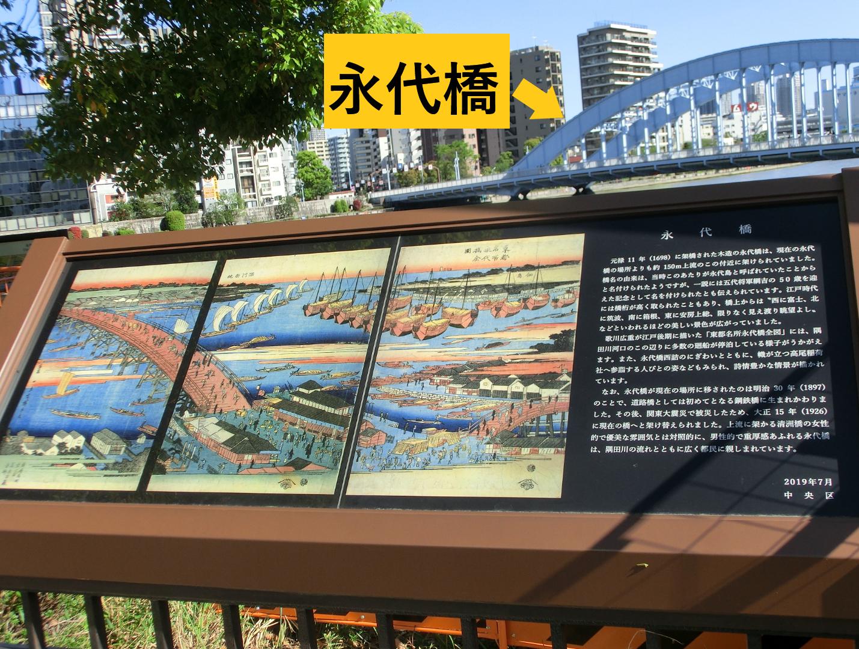 永代橋 説明版 新川散策1