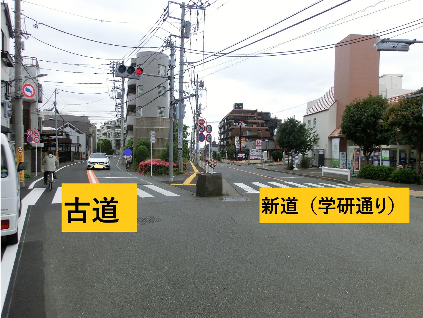 古道と新道の二又道 上池台1