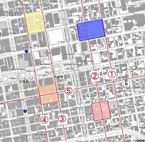 現在図 札幌中心部 条丁目街区の違い 1985年以前