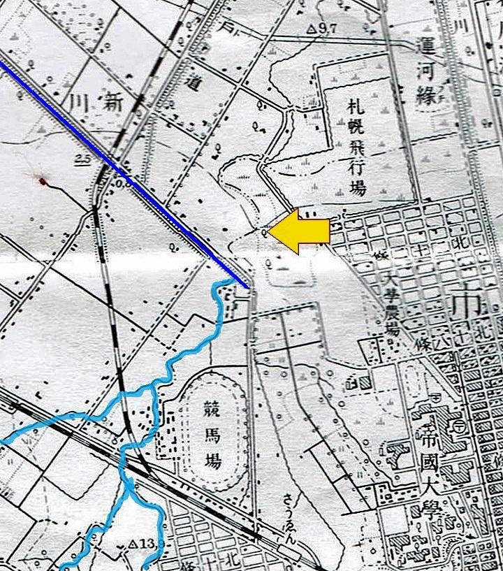 地形図 昭和10年 琴似川 旧流路