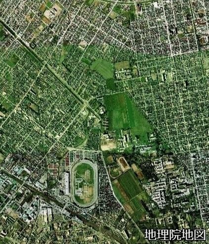 空中写真1976年 琴似川旧河道 新川への接続の下流部
