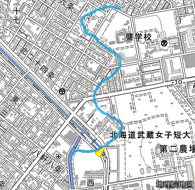 現在図 琴似川旧河道〈加筆) 武蔵短大、白楊町内会付近