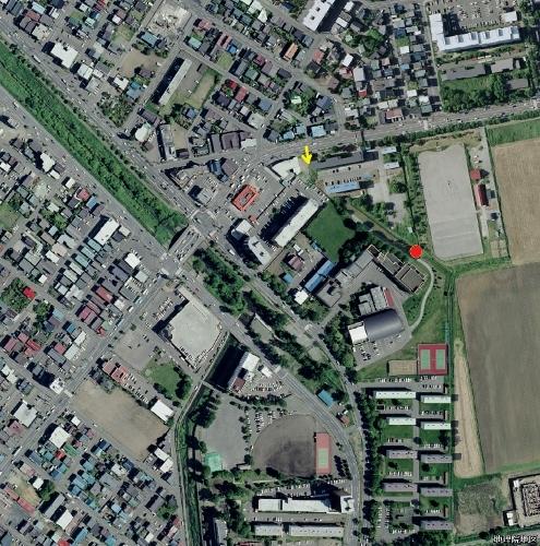 空中写真2008年 旧琴似川河道 武蔵短大