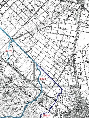 大正5年地形図「札幌」 新川 琴似川、発寒川、追分川