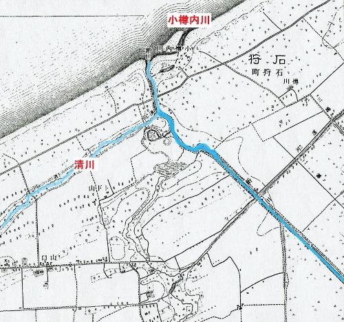 大正7年地形図「銭函」 新川河口 清川、小樽内川